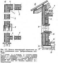 Рис. 272. Детали конструкций каркасного дома с утеплением стен фибролитовыми плитами