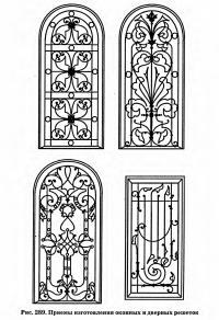 Рис. 289. Приемы изготовления оконных и дверных решеток