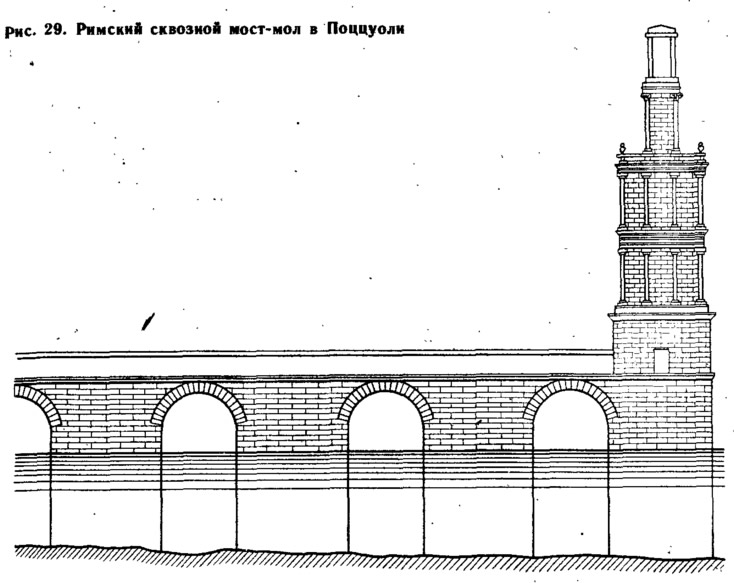 Рис. 29. Римский сквозной мост-мол в Поццуоли
