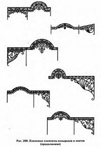 Рис. 290. Кованные элементы козырьков и зонтов (продолжение)