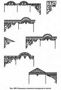 Рис. 290. Кованные элементы козырьков и зонтов