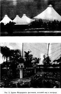 Рис. 3. Здание Флоридского фестиваля, внешний вид и интерьер