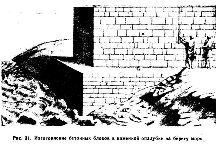 Рис. 31. Изготовление бетонных блоков в каменной опалубке на берегу моря