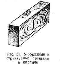 Рис. 31. S-образные и структурные трещины в кирпиче