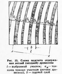 Рис. 33. Схема подсчета содержания летней (поздней) древесины
