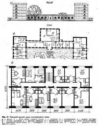 Рис. 37. Типовой проект дома гостиничного типа