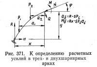 Рис. 371. К определению расчетных усилий в трех- и двухшарнирных арках