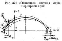 Рис. 374. «Основная» система двухшарнирной арки