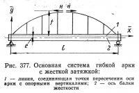 Рис. 377. Основная система гибкой арки с жесткой затяжкой