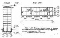 Рис. 4.13. Схематический план и разрез девятиэтажного крупнопанельного дома