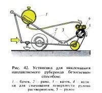 Рис. 42. Установка для наклеивания наплавляемого рубероида безогневым способом