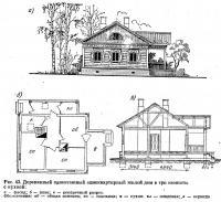 Рис. 43. Деревянный одноэтажный одноквартирный жилой дом в три комнаты с кухней