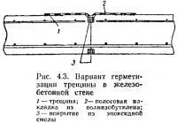 Рис. 4.3. Вариант герметизации трещины в железобетонной стене