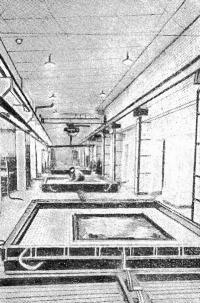 Рис. 44. Изготовление наружных стеновых панелей на приводном рольганге