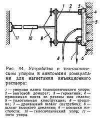Рис. 44. Устройство с телескопическим упором и винтовыми домкратами