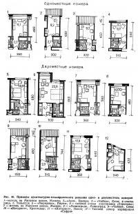 Рис. 46. Примеры архитектурно-планировочного решения одно- и двухместных номеров