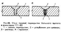 Рис. 46. Стык панелей перекрытия большого пролета в доме серии 111-83