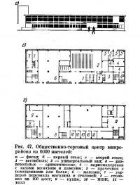 Рис. 47. Общественно-торговый центр микрорайона на 6000 жителей