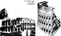 Рис. 48. Колизей в Риме. Общий вид и реконструкция восточной части