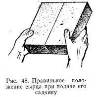 Рис. 48. Правильное положение сырца при подаче его садчику