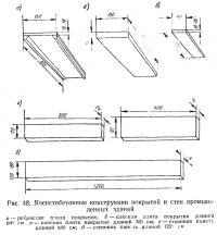 Рис. 48. Ячеистобетонные конструкции покрытий и стен промышленных зданий