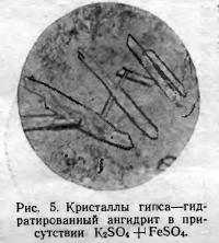 Рис. 5. Гидратированный ангидрит в присутствии K2SO4
