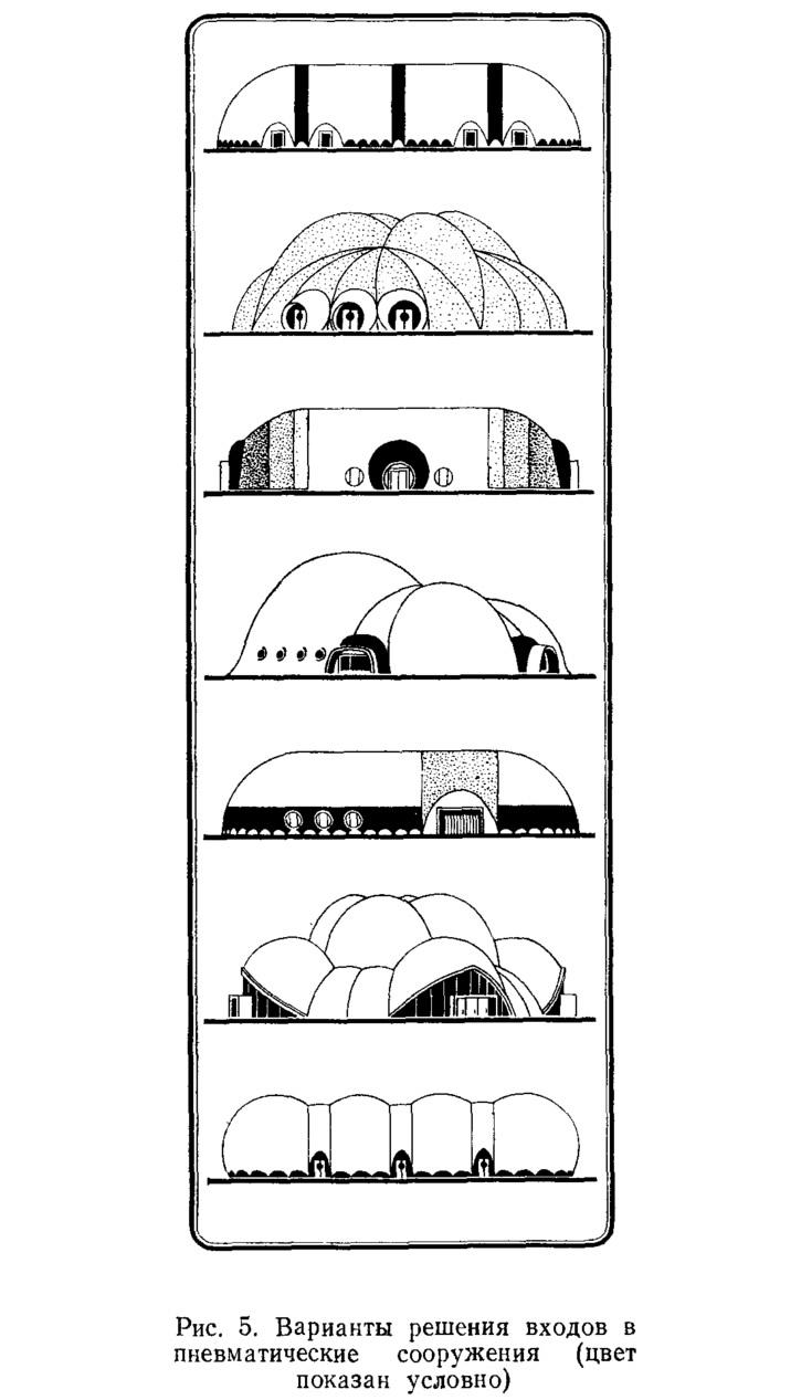 Рис. 5. Варианты решения входов в пневматические сооружения
