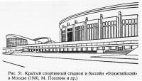 Рис. 51. Крытый спортивный стадион и бассейн «Олимпийский» в Москве