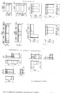 Рис. 51. Варианты группировки спальных мест в номере