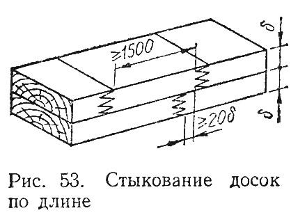 Рис. 53. Стыкование досок по длине