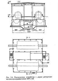 Рис. 5.4. Разгрузочное устройство с двумя роторными вагоноопрокидывателями ВРС-125