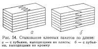 Рис. 54. Стыкование клееных пакетов по длине