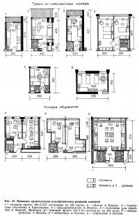 Рис. 55. Примеры архитектурно-планировочного решения номеров