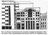 Рис. 55. Проект дополнительной застройки на Цветном бульваре в Москве