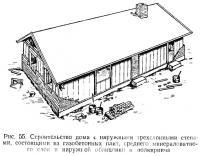 Рис. 55. Строительство дома с наружными трехслойными стенами