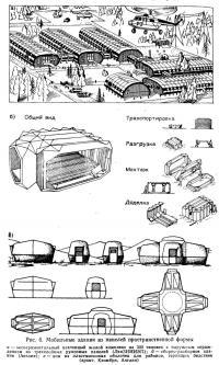 Рис. 6. Мобильные здания из панелей пространственной формы