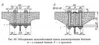 Рис. 60. Объединение железобетонной плиты высокопрочными болтами