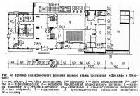 Рис. 62. Пример планировочного решения первого этажа гостиницы «Дружба» в Вильнюсе