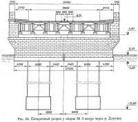Рис. 64. Поперечный разрез у опоры №3 моста через р. Даугаву