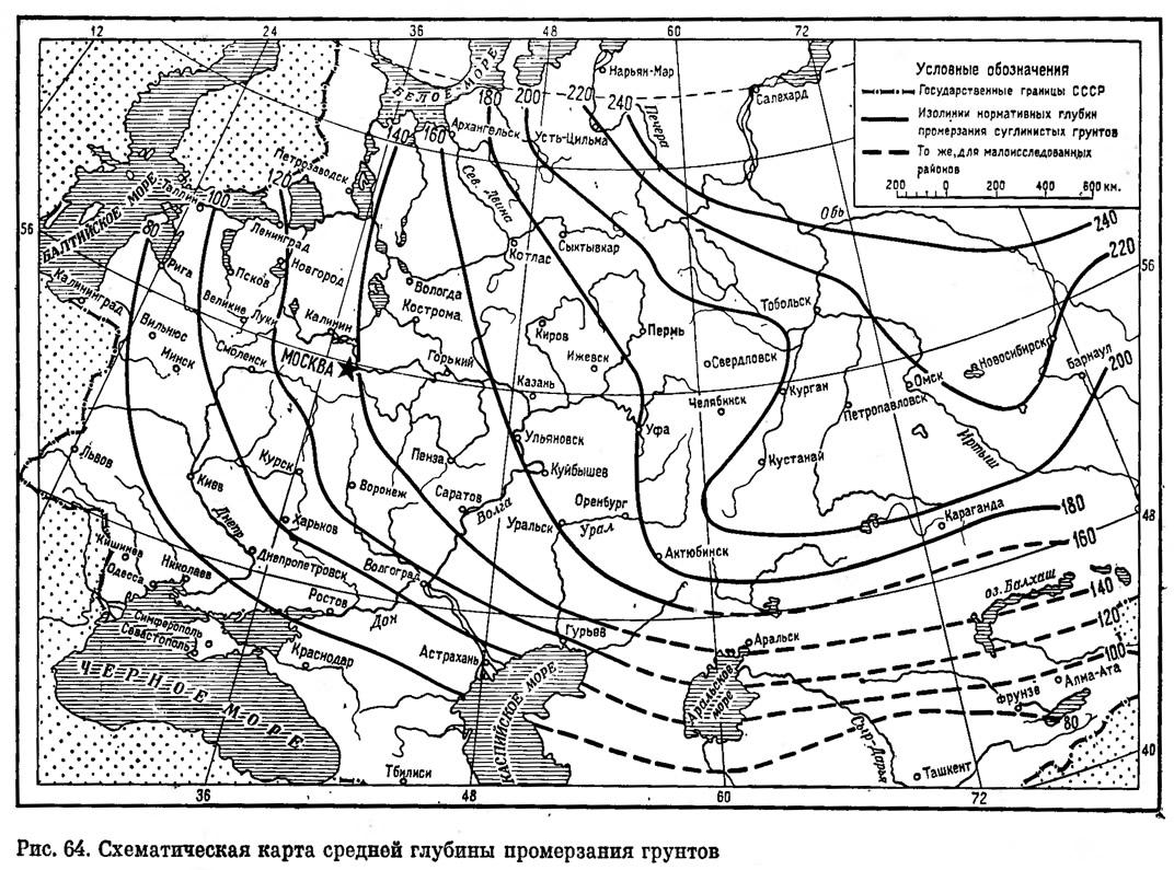 Рис. 64. Схематическая карта средней глубины промерзания грунтов