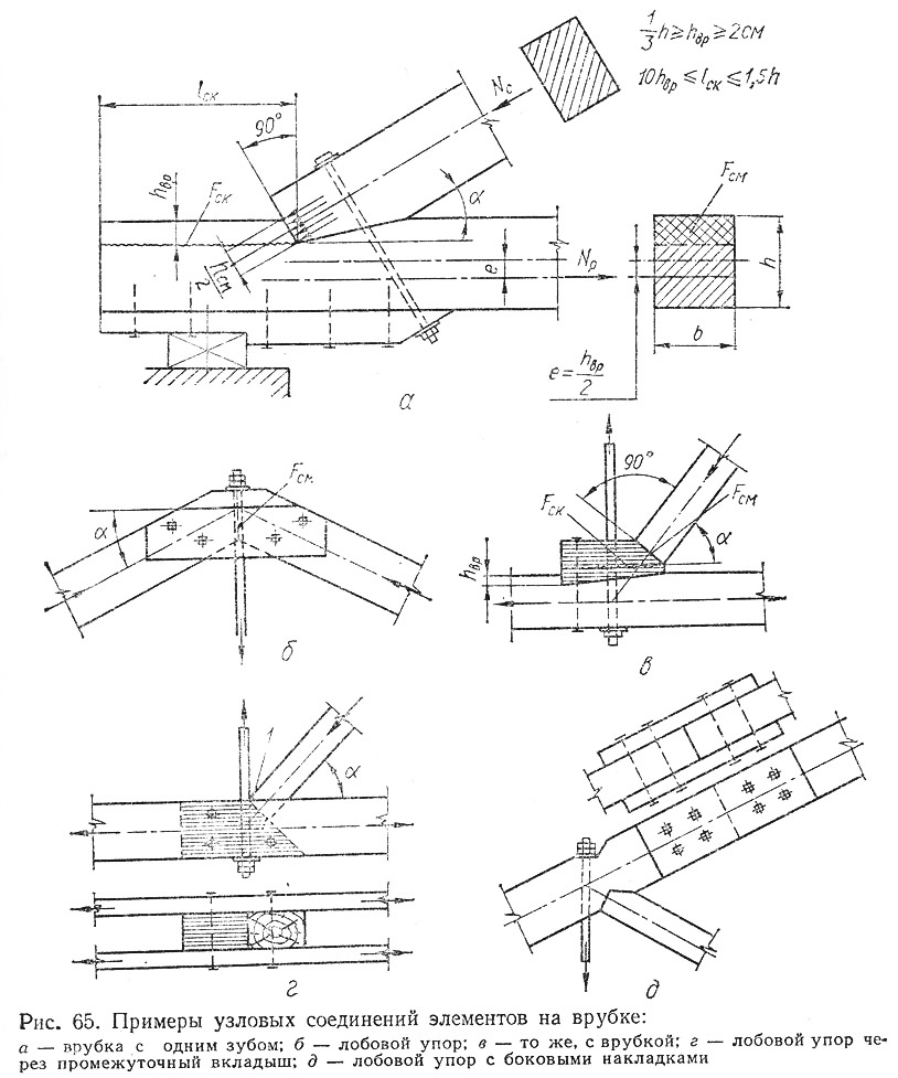 Рис. 65. Примеры узловых соединений элементов на врубке