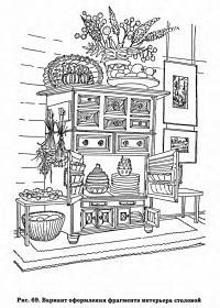 Рис. 69. Вариант оформления фрагмента интерьера столовой