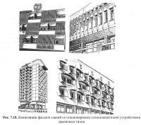 Рис. 7.10. Композиции фасадов зданий с солнцезащитными устройствами