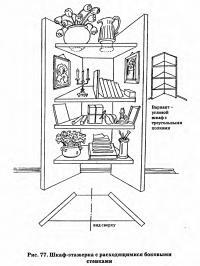 Рис. 77. Шкаф-этажерка с расходящимися боковыми стенками