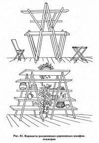 Рис. 81. Варианты раздвижных деревянных шкафов-этажерок