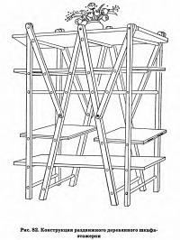 Рис. 82. Конструкция раздвижного деревянного шкафа-этажерки