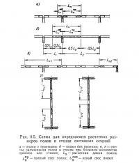 Рис. 8.5. Схема для определения расчетных размеров полок и стенок составных сечений