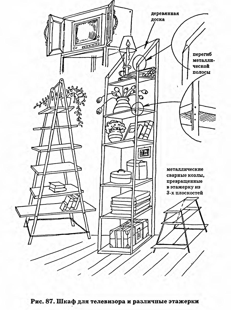 Рис. 87. Шкаф для телевизора и различные этажерки