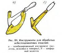 Рис. 89. Инструменты для обработки асбестоцементных изделий