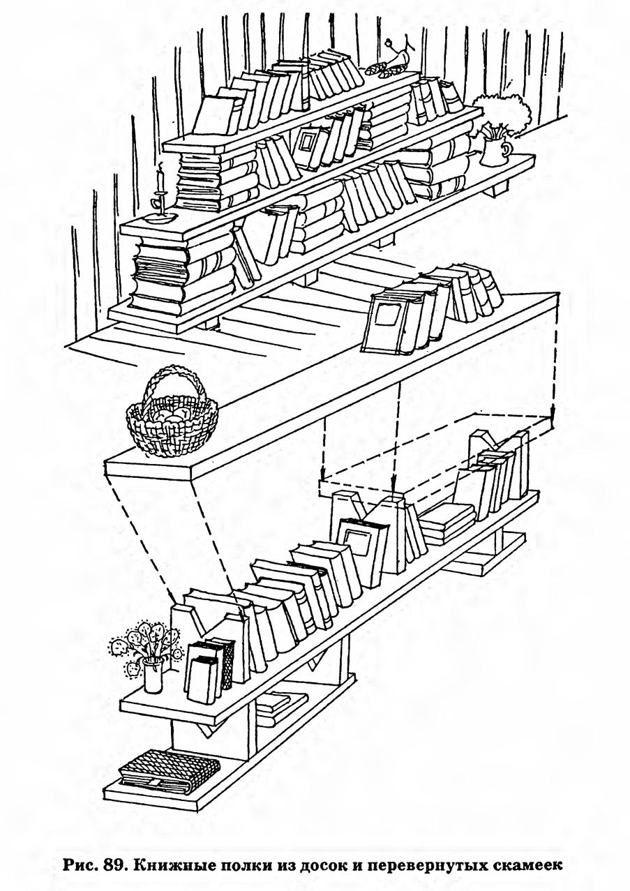 Рис. 89. Книжные полки из досок и перевернутых скамеек